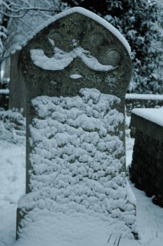 snow on grave